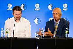 Luka Doncic and Bill Duffy during Dallas Mavericks Press Conference to formalise the deal with Luka Doncic, 10 August, 2021, Intercontinental Hotel, Ljubljana, Slovenia. Photo by Grega Valancic