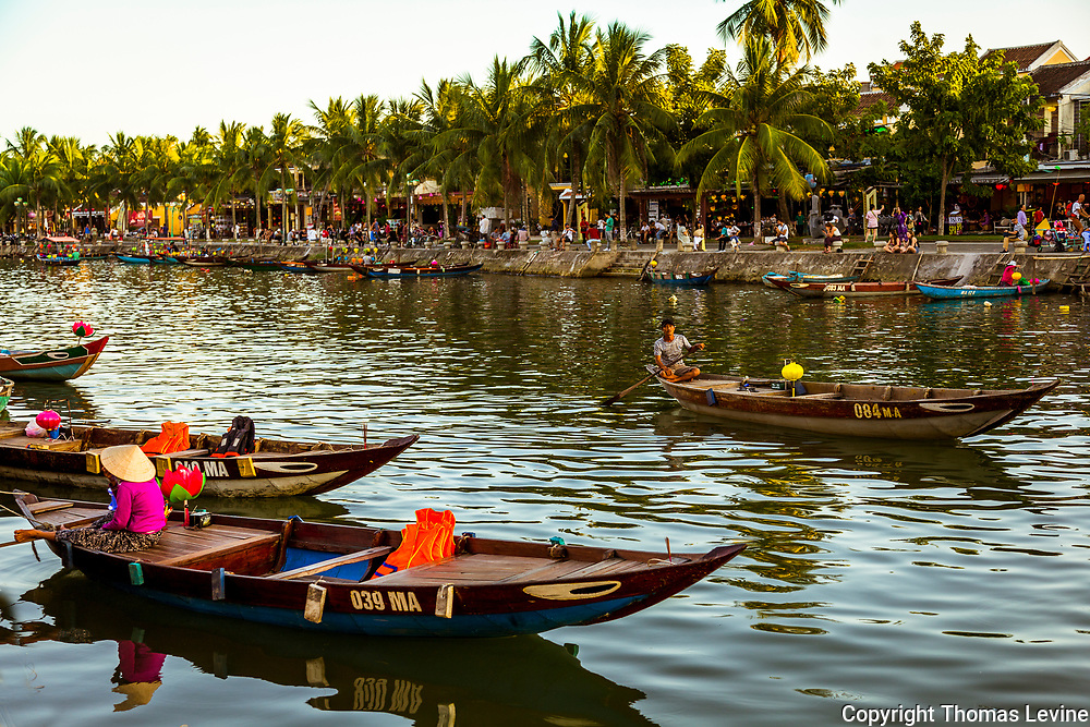 Dec. 2018, Hoi An: Tour boats lined up on the Thu Bon River at Ancient Town. RAW to Jpg.