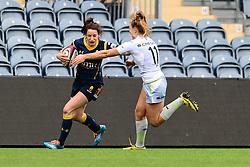Brooke Clarke of Worcester Valkyries is tackled by Lotte Clapp of Saracens Ladies  - Mandatory by-line: Craig Thomas/JMP - 30/09/2017 - RUGBY - Sixways Stadium - Worcester, England - Worcester Valkyries v Saracens Women - Tyrrells Premier 15s