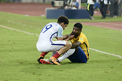 October 25, 2017 - Kolkata, West Bengal, India - England Morgan Gibbs White (jersey 19) and Brazil Lincoln (jersey 9) after the Semi Final match against Brazil in Kolkata. Players of England and Brazil in action during the FIFA U 17 World Cup India 2017 Semi Final match on October 25, 2017 in Kolkata. (Credit Image: © Saikat Paul/Pacific Press via ZUMA Wire)