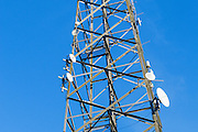 Radio transmission dish and yagi antenna on tower <br /> <br /> Editions:- Open Edition Print / Stock Image