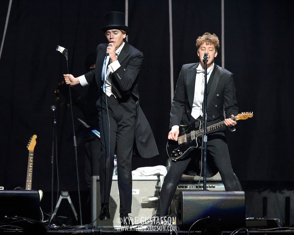"""WASHINGTON, DC - March 14th, 2013 -  The Hives perform at the Verizon Center in Washington, D.C. opening for Pink on her """"Truth About Love"""" tour.(Photo by Kyle Gustafson)"""