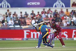 July 1, 2019 - Chester Le Street, County Durham, United Kingdom - Sri Lanka's Angelo Mathews hits a six during the ICC Cricket World Cup 2019 match between Sri Lanka and West Indies at Emirates Riverside, Chester le Street on Monday 1st July 2019. (Credit Image: © Mi News/NurPhoto via ZUMA Press)