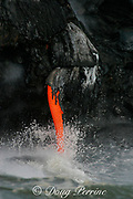 """lava from Kilauea Volcano empties into the Pacific Ocean <br /> through a lava spigot at the end of a lava tube, Hawaii Volcanoes National Park, Hawaii Island (""""the Big Island""""), <br /> Hawaii, U.S.A. ( central Pacific Ocean )"""