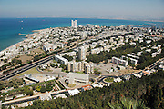General view of the Bay of Haifa, Israel as seen from mount Carmel
