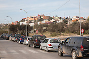 Line of cars wait at the Moroccan border in Melilla autonomous city state Spanish territory in north Africa, Spain cars line up at border checkpoint with Morocco