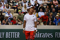 May 30, 2019 - Paris, France - Yoshihito Nishioka of Japan reacts during his mens singles second round match against Juan Martin Del Potro of Argentina during Day five of the 2019 French Open at Roland Garros on May 30, 2019 in Paris, France. (Credit Image: © Ibrahim Ezzat/NurPhoto via ZUMA Press)