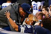 Cowboys fan Carloyn Price has a word with Josh Brent just before halftime against the Steelers at Cowboys Stadium in Arlington, Texas, on December 16, 2012.  (Stan Olszewski/The Dallas Morning News)