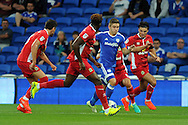 Cardiff City's Declan John (c) takes on the Blackburn defence. EFL Skybet championship match, Cardiff city v Blackburn Rovers at the Cardiff city stadium in Cardiff, South Wales on Wednesday 17th August 2016.<br /> pic by Carl Robertson, Andrew Orchard sports photography.