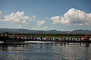 Boat with local people, Inle Lake, <br /> Myanmar.It is the second largest lake in Myanmar, is a freshwater lake located in the Nyaungshwe Township. <br /> Note: These images are not distributed or sold in Portugal