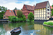 Boat and geese at Den Gamle By, The Old Town, open-air folk museum at Aarhus,  East Jutland, Denmark
