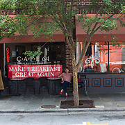 September , 2016 - Asheville, North Carolina, United States: Anti-Trump protestors gather outside small businesses near the U.S. Cellular Center in downtown Asheville. Trump supporters were met with protestors while they waited to gain entry to the center to hear the Republican presidential candidate speak.  (Logan R Cyrus/ Polaris)