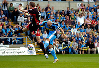 Photo: Alan Crowhurst.<br />Wycombe Wanderers v Lincoln City. Coca Cola League 2. 23/09/2006. Tommy Mooney of Wycombe (R) volleys in a goal 1-0.
