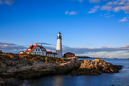 A classic New England Lighthouse in late afternoon, The Portland Head Light at Portland Maine, USA