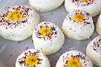 Goat milk cheese with saffron,