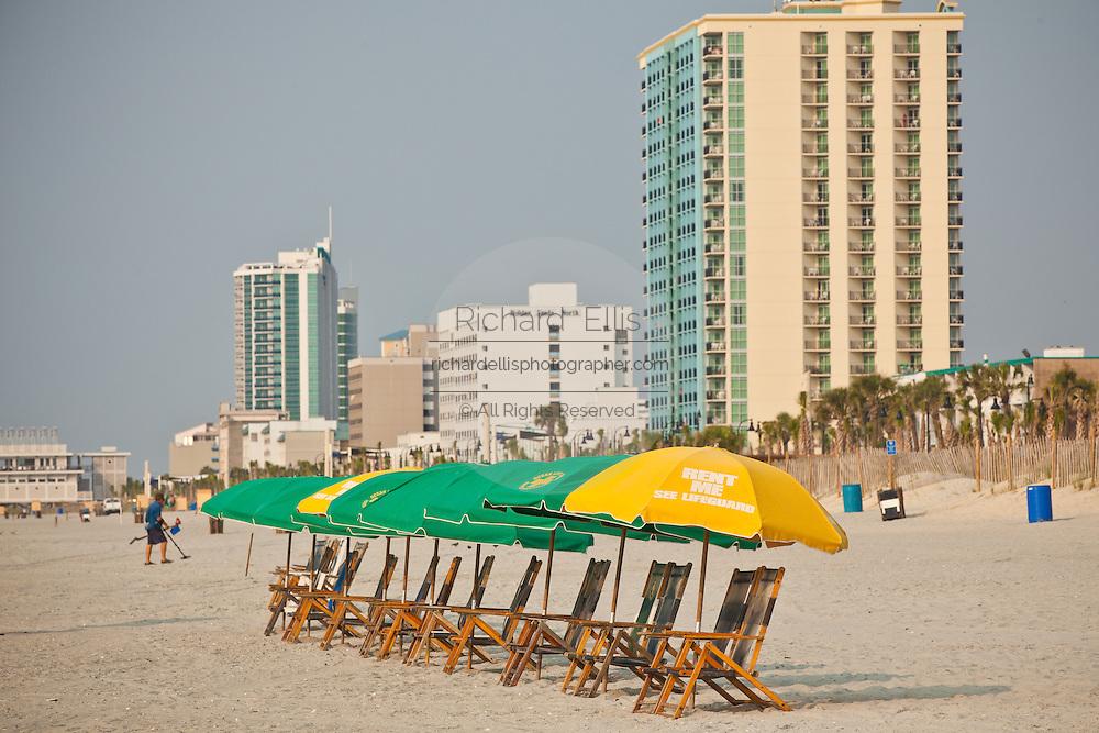 Beach umbrellas on the beach in Myrtle Beach, SC.