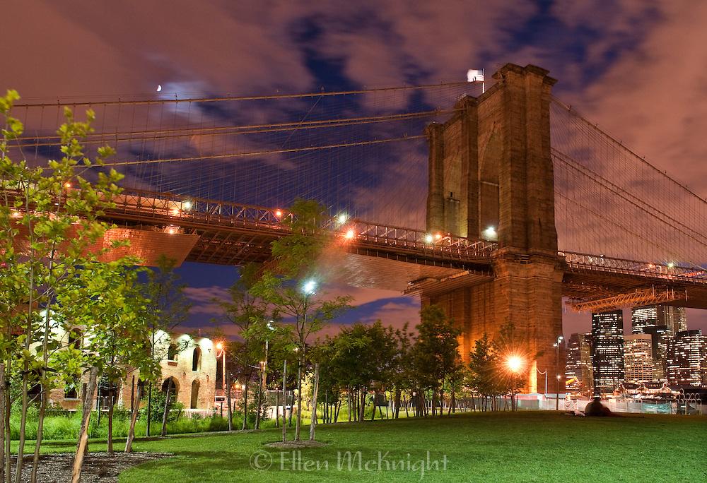 The Brooklyn Bridge and Brooklyn Bridge Park at Twilight