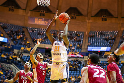 Nov 28, 2018; Morgantown, WV, USA; West Virginia Mountaineers forward Wesley Harris (21) shoots in the lane during the second half against the Rider Broncs at WVU Coliseum. Mandatory Credit: Ben Queen-USA TODAY Sports