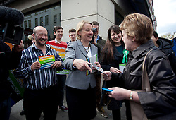 © Licensed to London News Pictures. 01/05/2015. London, UK. Natalie Bennett, centre, launches the Green Party's LGBTIQ manifesto in Soho, central London. Ms Bennett announced Green pledges to review the discriminatory blood ban and introduce LGBTIQ-inclusive sex education. Photo credit: LNP