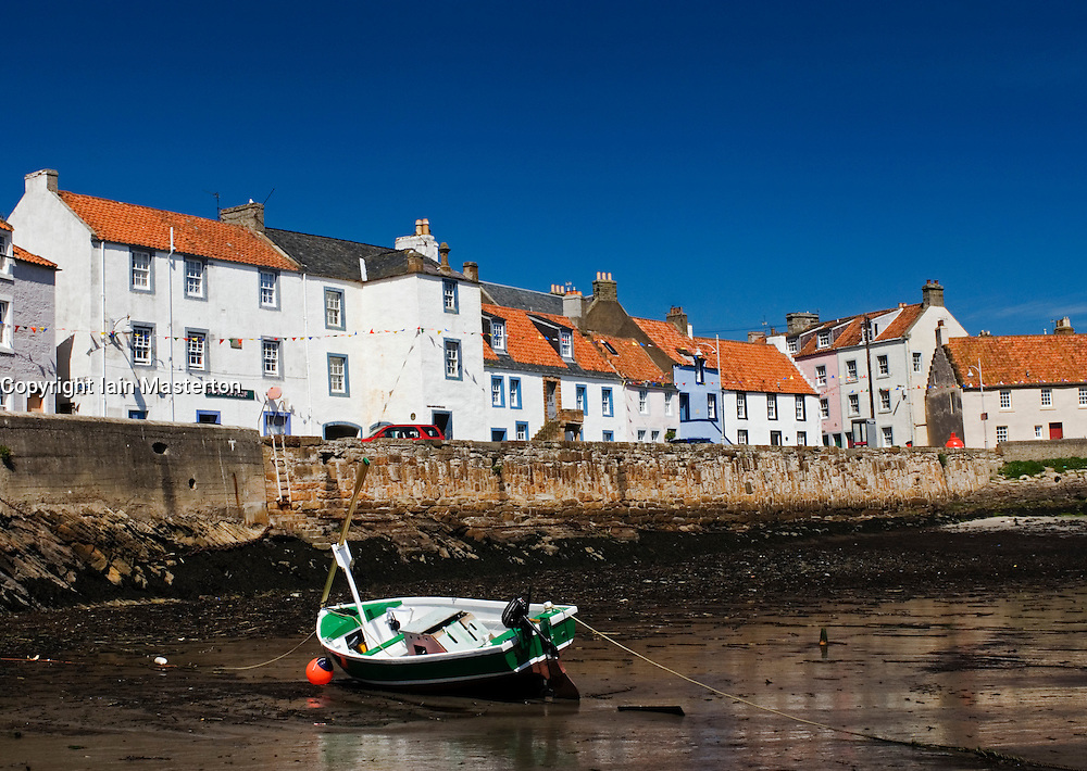 Traditional fishermens housing and harbour in St Monans village in Fife Scotland