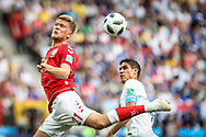 Andreas Cornelius of Denmark and Raphael Varane of France during the 2018 FIFA World Cup Russia, Group C football match between Denmark and France on June 26, 2018 at Luzhniki Stadium in Moscow, Russia - Photo Thiago Bernardes / FramePhoto / ProSportsImages / DPPI