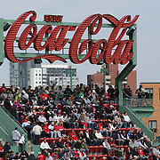 The Coca Cola sign during the Boston Red Sox V Tampa Bay Rays, Major League Baseball game on Jackie Robinson Day, Fenway Park, Boston, Massachusetts, USA, 15th April, 2013. Photo Tim Clayton