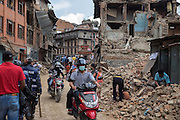 Devastating April 2015 Nepal Earthquake. Collapsed buildings in Bhaktapur, one of three ancient royal cities in the Kathmandu Valley and a UNESCO World Heritage Site. The town was severely damaged, with many old houses and temples destroyed.