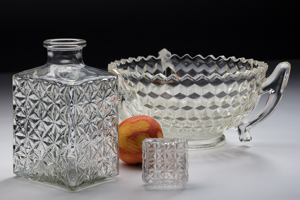 Used glassware purchased from Cancer Research UK, charity shop in Wood Green High Street, London, 20th March 2018
