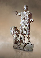 Roman statue of Emperor Trajan. Marble. Perge. 2nd century AD. Inv no11.13.79 . Antalya Archaeology Museum; Turkey. Against a warm art background. .<br /> <br /> If you prefer to buy from our ALAMY STOCK LIBRARY page at https://www.alamy.com/portfolio/paul-williams-funkystock/greco-roman-sculptures.html . Type -    Antalya     - into LOWER SEARCH WITHIN GALLERY box - Refine search by adding a subject, place, background colour, museum etc.<br /> <br /> Visit our ROMAN WORLD PHOTO COLLECTIONS for more photos to download or buy as wall art prints https://funkystock.photoshelter.com/gallery-collection/The-Romans-Art-Artefacts-Antiquities-Historic-Sites-Pictures-Images/C0000r2uLJJo9_s0