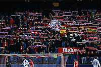 Atletico de Madrid´s supporters holding flags and scarfs during 2015-16 La Liga match between Atletico de Madrid and Real Sociedad at Vicente Calderon stadium in Madrid, Spain. March 01, 2016. (ALTERPHOTOS/Victor Blanco)