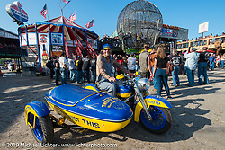 Bill Grotto on his Twisted Tea Harley-Davidson Shovelhead with sidecar at the Full Throttle Saloon during the annual Sturgis Black Hills Motorcycle Rally. SD, USA. August 7, 2014.  Photography ©2014 Michael Lichter.