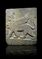 Photo of Hittite relief sculpted orthostat stone panel of Herald's Wall Basalt, Karkamıs, (Kargamıs), Carchemish (Karkemish), 900-700 B.C. Chimera. Anatolian Civilisations Museum, Ankara, Turkey.<br /> <br /> Three-headed sphinxes. Winged lion, with a bird of prey's head on the end of its tail, also has a human head with hair in plaits and a conical headdress. The details in his feet are very distinct.  <br /> <br /> Against a black background. .<br />  <br /> If you prefer to buy from our ALAMY STOCK LIBRARY page at https://www.alamy.com/portfolio/paul-williams-funkystock/hittite-art-antiquities.html  - Type  Karkamıs in LOWER SEARCH WITHIN GALLERY box. Refine search by adding background colour, place, museum etc.<br /> <br /> Visit our HITTITE PHOTO COLLECTIONS for more photos to download or buy as wall art prints https://funkystock.photoshelter.com/gallery-collection/The-Hittites-Art-Artefacts-Antiquities-Historic-Sites-Pictures-Images-of/C0000NUBSMhSc3Oo