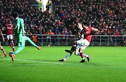 Korey Smith of Bristol City scores the winning goal  - Mandatory by-line: Joe Meredith/JMP - 20/12/2017 - FOOTBALL - Ashton Gate Stadium - Bristol, England - Bristol City v Manchester United - Carabao Cup Quarter Final
