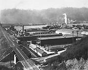 "Willamette Cove, Burlington Northern railroad bridge 5.1 across Willamette river. No infomation available. Source is 8x10"" vintage print from Letson Tidwater Oil collection."