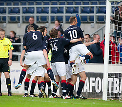 Falkirk's team celebrates after Darren Dods scored their goal..Falkirk 1 v 0 Queen of the South, 15/10/2011..Pic © Michael Schofield.