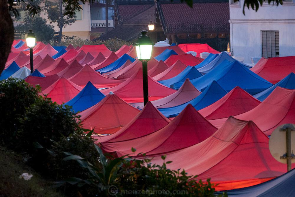 Night market for tourists in Luang Prabang, Laos.