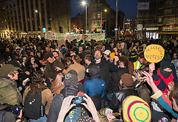 """© Licensed to London News Pictures;03/04/2021; Bristol, UK. Protesters hold a rave with music at a fifth """"Kill the Bill"""" protest in a fortnight taking place in Bristol against the Police, Crime, Sentencing and Courts Bill during the Covid-19 coronavirus pandemic in England. Several arrests were made. The Bill proposes new restrictions on protests. Some previous Kill the Bill protests in Bristol had violence. Photo credit: Simon Chapman/LNP."""