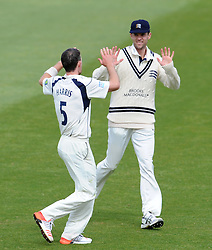 Middlesex's James Harris celebrates the wicket of Somerset's Alex Barrow. - Photo mandatory by-line: Harry Trump/JMP - Mobile: 07966 386802 - 28/04/15 - SPORT - CRICKET - LVCC Division One - County Championship - Somerset v Middlesex - Day 3 - The County Ground, Taunton, England.