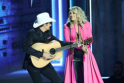 52nd Annual Country Music Association Awards hosted by Carrie Underwood and Brad Paisley and held at the Bridgestone Arena on November 14, 2018, in Nashville, TN. © Curtis Hilbun / AFF-USA.com. 14 Nov 2018 Pictured: Carrie Underwood and Brad Paisley. Photo credit: Curtis Hilbun / AFF-USA.com / MEGA TheMegaAgency.com +1 888 505 6342