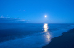 Moon ocean sea waves beach night reflection