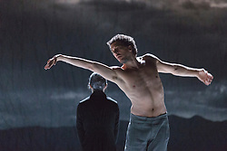 © Licensed to London News Pictures. 01/07/2014. London, England. NDT1 perform Schmetterling. Medhi Walerski performing. Dress rehearsal of the works Sehnsucht (longing) and Schmetterling (butterfly) of Nederlands Dans Theater 1 at Sadler's Wells. The company presents a UK premiere of these two works from 1 to 4 July 2014.  Photo credit: Bettina Strenske/LNP