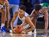 Middle Tennessee Blue Raiders guard Anthony Crump (0) dives for the ball during the UAB Blazers at Middle Tennessee Blue Raiders college basketball game in Murfreesboro, Tennessee, Saturday, February, 15, 2020. Middle lost 79-66.<br /> Photo: Harrison McClary/All Tenn Sports