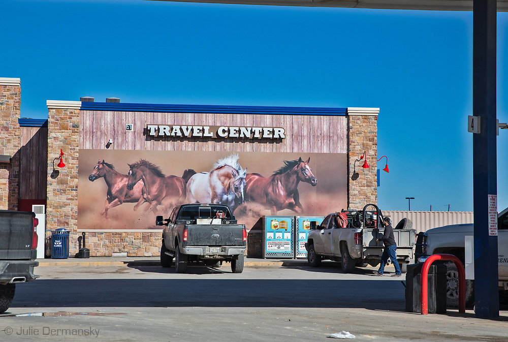 Sign at a  Tavel center / gas station in Pecos, Texas, in the Permian Basin.