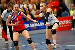 20150425 NED: Eredivisie VC Sneek - Eurosped, Sneek<br />Marrit Jasper (7) of VC Sneek, Janieke Popma (2) of VC Sneek<br />©2015-FotoHoogendoorn.nl / Pim Waslander