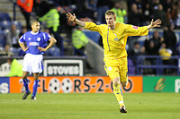 Photo: Pete Lorence.<br />Leicester City v Sheffield Wednesday. Coca Cola Championship. 02/12/2006.<br />Chris Brunt celebrates scoring his second goal of the match.