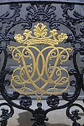 Gold ironwork detail Stiftsgarden palace in city of Trondheim,  Norway