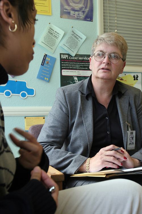 A prisoner talking with the drug councellor at HMP Downview