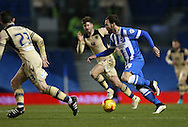 Inigo Calderon, Brighton defender during the Sky Bet Championship match between Brighton and Hove Albion and Leeds United at the American Express Community Stadium, Brighton and Hove, England on 24 February 2015.