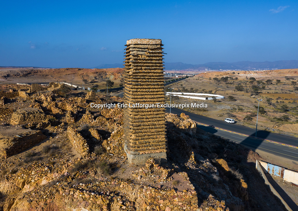 SAUDI ARABIA FROM ABOVE<br /> A stone and mud watchtower made of slates standing in the Asir province of Saudi Arabia. These watchtowers had two purposes: to monitor neighboring enemies and to keep harvests safe in this arid area. Nowadays, they have become the symbol of Asir province and can be seen all along major roads.