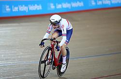 Laura Kenny of Great Britain during the Women's Madison Final during day three of the Tissot UCI Track Cycling World Cup at Lee Valley VeloPark, London.